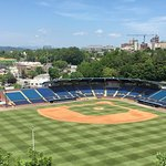 View from above center-field with downtown Asheville in the background