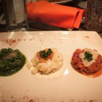 The chef's special: tricolor gnocchi with three different types of tuna tartare.