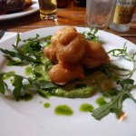 Battered Monk Fish on Pea Puree