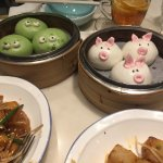 Green tea custard and char siu (bbq pork) buns
