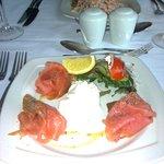 Beautifully-presented smoked salmon starter