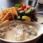 Saute oysters with fries and green salad w/ blue cheese dressing.