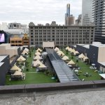 View from the top of Melbourne Central. Glamping at St Jerome's Hotel.