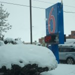 Motel 6 Santa Fe, Cerrillos Road South. April SNOW storm.