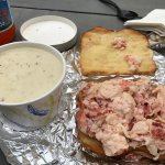 Lobster Sandwich and seafood chowda special. LOOK AT ALL THAT LOBSTER