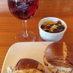 sliders on pretzel buns with wine tasting snacks