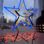From the inside looking out, the neon Star open sign, Star Grill, 2069 Portage Ave., Winnipeg, M