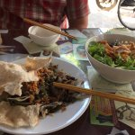 Minh Hien Special (front) and Cao Lau Noodles.