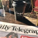 Coffee and the paper outside at Cinque - a perfect start to the day !!