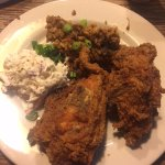 Fried Chicken with Coleslaw and Jambalaya