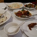 Top: Pork dish with prawn fried rice, Left: House special fried rice, Middle: Duck black bean sa