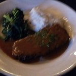 Meatloaf, mashed potatoes, sauteed spinach