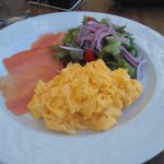 Scrambled eggs with smoked trout.