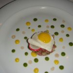 Quail egg on top of Impala Tartate ... very tasty