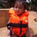 My daughter Princess like to swim everyday.