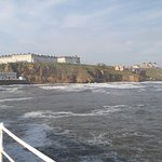 Picture taken from Whitby pier looking up to North Terrace and the property Seabreeze. Imagine t