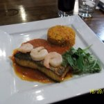 Blackened salmon with jambala and cajun sauce-YUM!