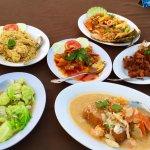 Cereal prawn , sweet and sour scallop, fried chicken , tofu, kale, prawn petai sambal.