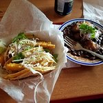 Pulled Pork Taco, Spicey Carne Molida Taco, and Plantains with Black Beans