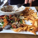 Jann poking about in wonder at a vile steak pie and chips with roasted root vegetables