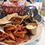My pita with steak in tehine, with chips, Mayo and salad