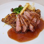 Glazed duck breast, hot spring cooked duck thigh, rösti potatoe, bigarade sauce