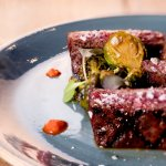 American Wagyu Flat Iron Steak - Caramelized Brussels Sprouts, Cure Hot Sauce