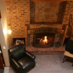 Sample Loft Suite with brick fireplace