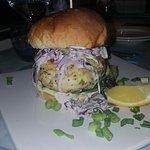 Cod and tiger prawn burger