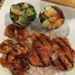 blackened seafood over rice