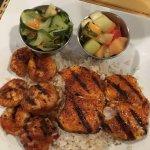 blackened seafood over rice