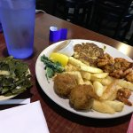 crab cakes, shrimp(?) and collard greens??!!