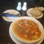 Traditional Irish lamb stew with soda bread