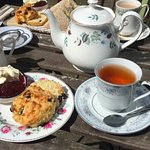 fruit scone and tea at the outdoor seating