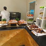 fruits, buns, pastries at buffet