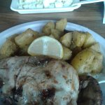 chicken with greek roast-potatoes and feta cheece