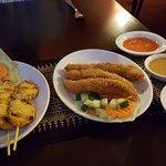 Chicken Satay (left) & Chicken in tempura batter & japanese breadcrumbs