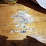 Sticker on the table.