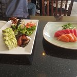 Crab roll, sushi and sashimi.
