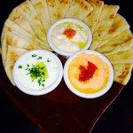 Tzatziki, Hummus, Skordalia & Pita