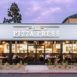 The Pizza Press Anaheim front entrance photographed from Disney Way
