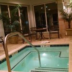 Large comfortable hot tub was open until 10 pm.