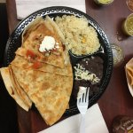 quesadilla with rice and refried beans