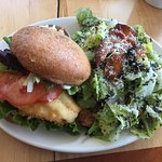 Haddock Burger with Caesar salad side
