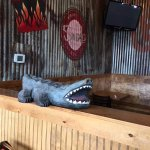 Interesting decor for sure - hungry gator wants some BBQ.