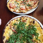 The top Pizza is the Margherita and the Chorizo on the bottom.