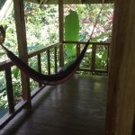One of the two hammocks on the bungalow porch