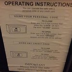 Safe instructions. The only way to read it was to take a photo and enlarge it on your phone.