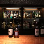 The well-stocked bar selection for happy hour