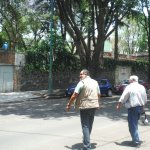 Alvaro and myself crossing to Trotsky House